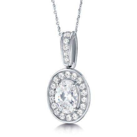 18ct White Gold  G, VS  Diamond pendant oval centre with cluster halo on grain set swining bail